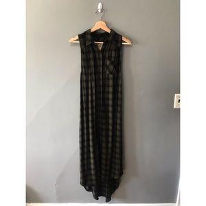 mossimo long plaid button down dress